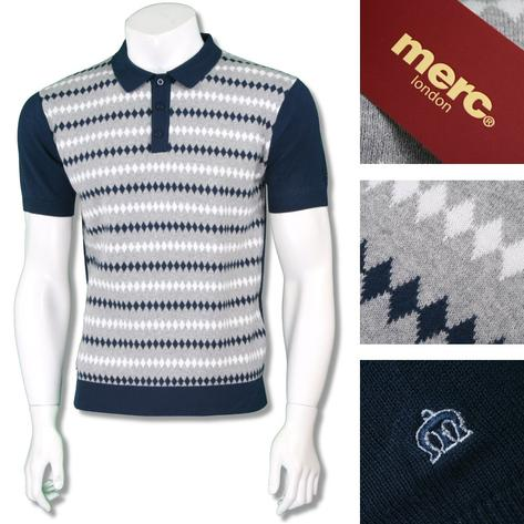 Merc London Mens Retro Diamond Stripe Knit Polo Shirt Thumbnail 3