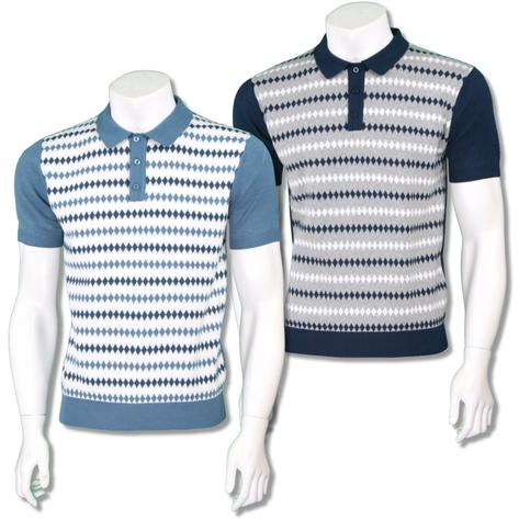Merc London Mens Retro Diamond Stripe Knit Polo Shirt Thumbnail 1