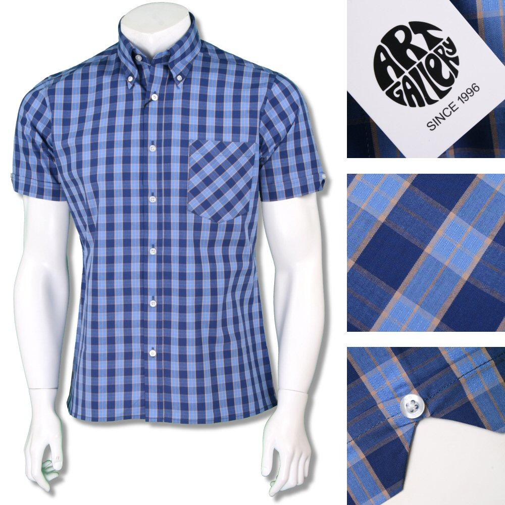 Art Gallery Mens Button Down Short Sleeve Check Shirt Blue