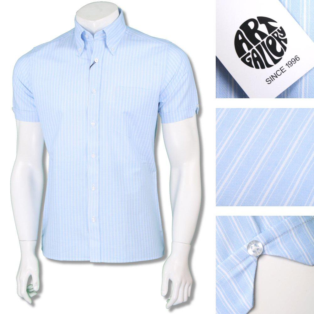 Art Gallery Mens Button Down Fine Stripe Cotton Shirt Sky Blue