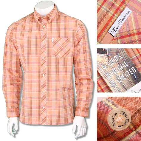 Ben Sherman 1990s Reissue Archive Bold Check Shirt Orange