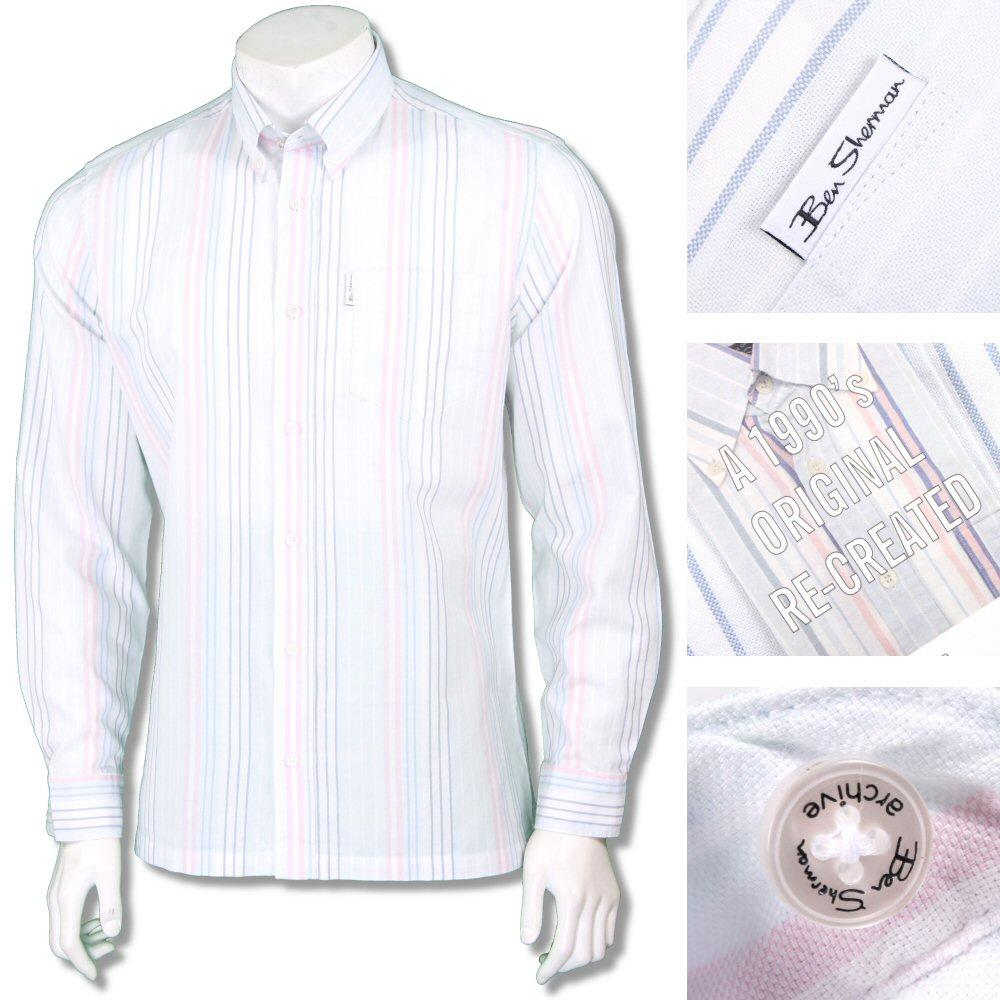 Ben Sherman 1990s Reissue Archive Faint Stripe Shirt White