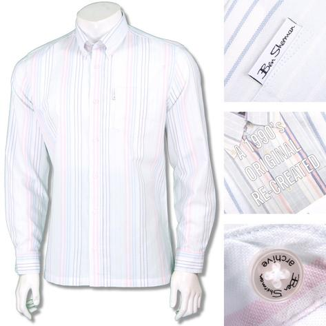 Ben Sherman 1990s Reissue Archive Faint Stripe Shirt White Thumbnail 1
