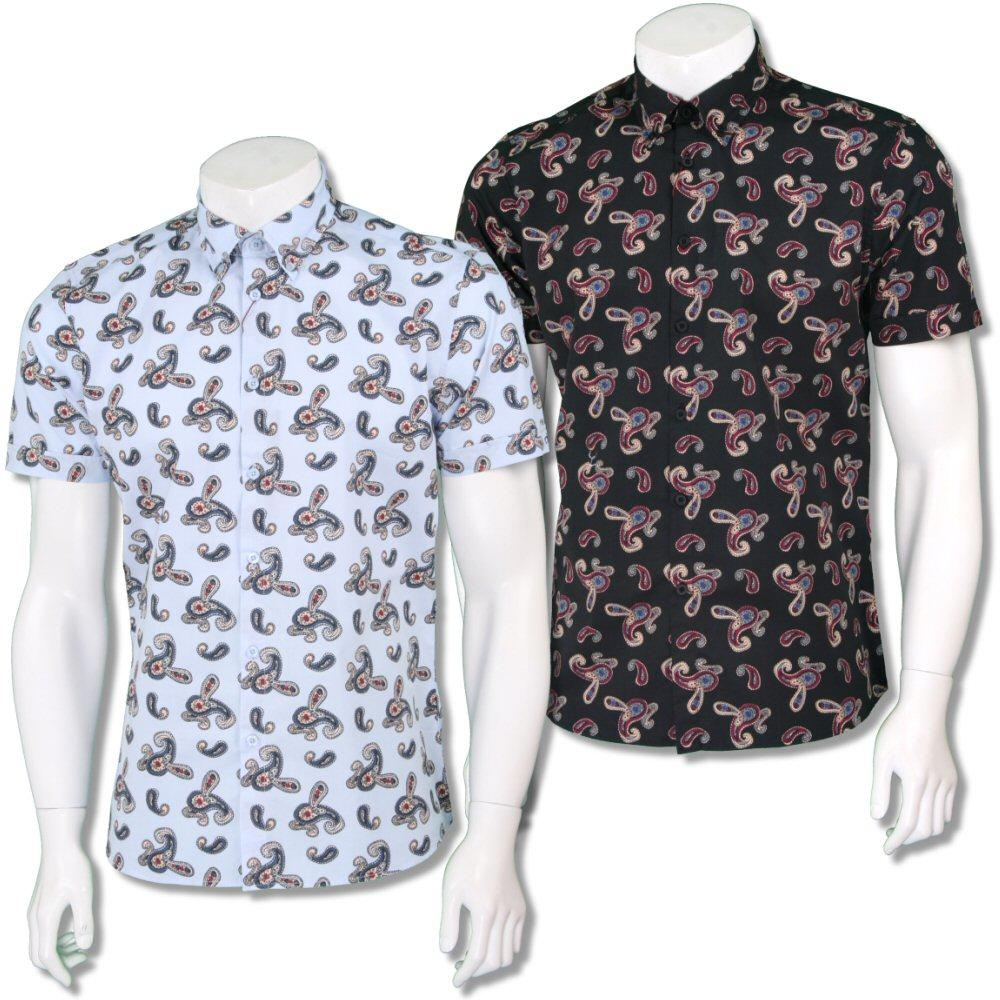 Merc London Mens Paisley Print Short Sleeve Shirt