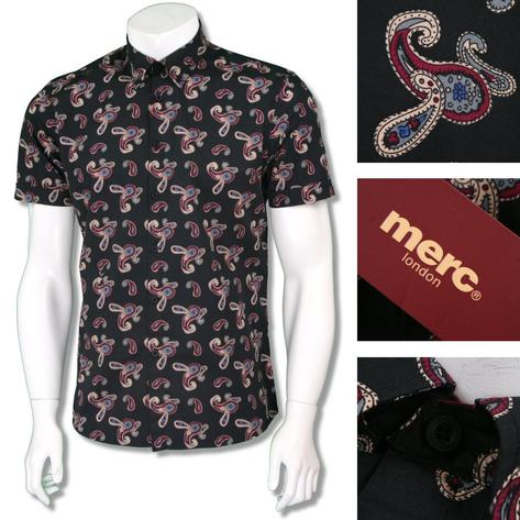 Merc London Mens Paisley Print Short Sleeve Shirt Thumbnail 3