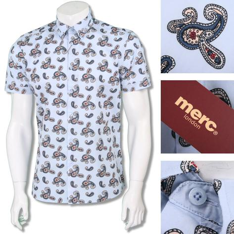 Merc London Mens Paisley Print Short Sleeve Shirt Thumbnail 2