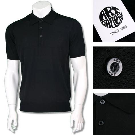 Art Gallery Mens Short Sleeve Plain Knit Polo Shirt Thumbnail 4