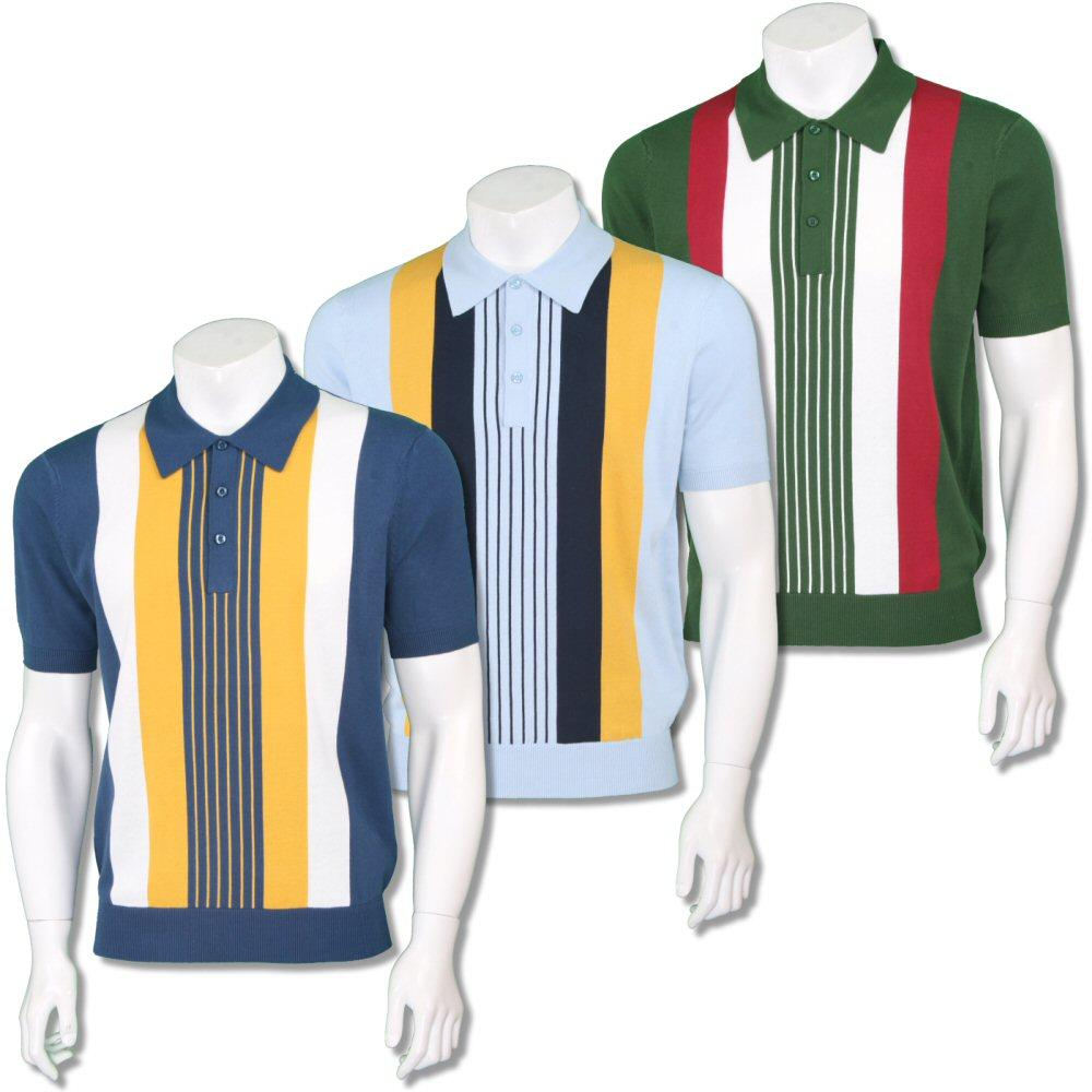 Art Gallery Mens Retro Multi Stripe Knit Polo Shirt