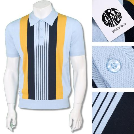 Art Gallery Mens Retro Multi Stripe Knit Polo Shirt Thumbnail 3