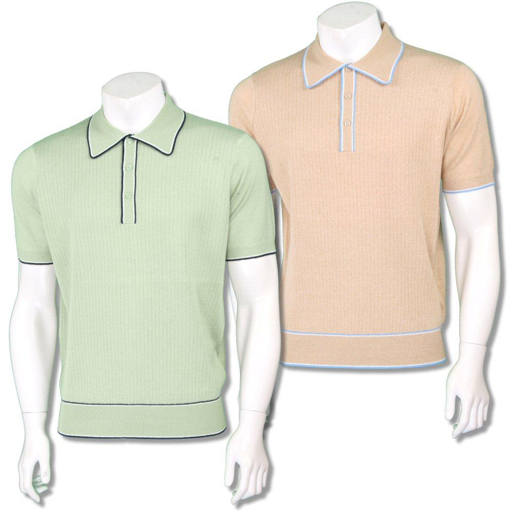 Art Gallery Mens Retro Rib Knit Tipped Polo Shirt