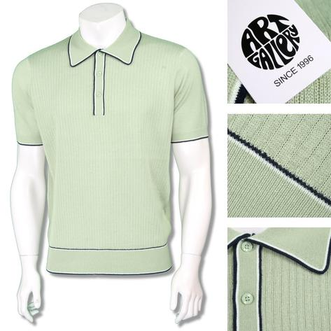 Art Gallery Mens Retro Rib Knit Tipped Polo Shirt Thumbnail 2