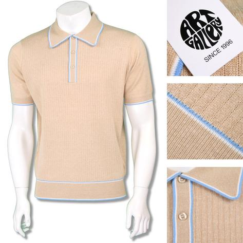 Art Gallery Mens Retro Rib Knit Tipped Polo Shirt Thumbnail 3