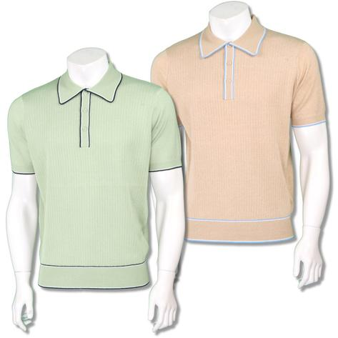 Art Gallery Mens Retro Rib Knit Tipped Polo Shirt Thumbnail 1