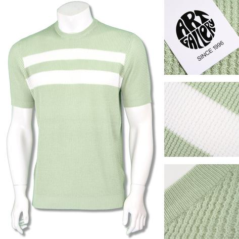 Art Gallery Mens Retro Waffle Knit Stripe Crew Neck Apple