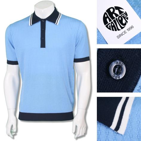 Art Gallery Mens Retro Texture Knit Tipped Polo Shirt Thumbnail 3
