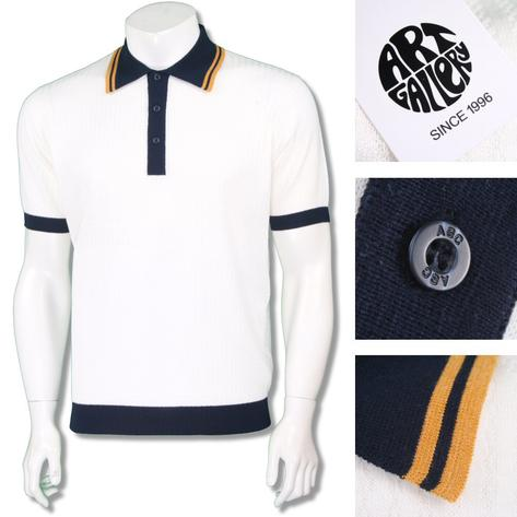 Art Gallery Mens Retro Texture Knit Tipped Polo Shirt Thumbnail 2