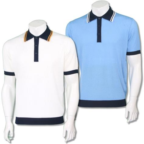 Art Gallery Mens Retro Texture Knit Tipped Polo Shirt Thumbnail 1
