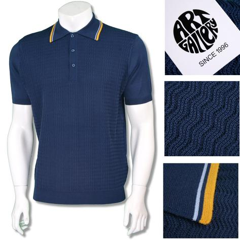 Art Gallery Mens Retro Zig Zag Knit Tripped Polo Shirt Thumbnail 2