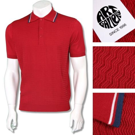 Art Gallery Mens Retro Zig Zag Knit Tripped Polo Shirt Thumbnail 3