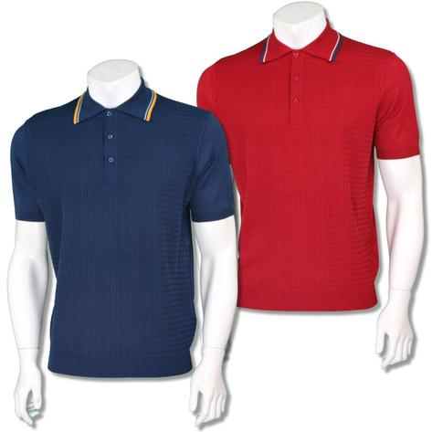 Art Gallery Mens Retro Zig Zag Knit Tripped Polo Shirt Thumbnail 1