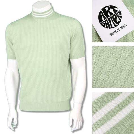 Art Gallery Mens Short Sleeve Tipped Knit Turtle Neck Mint