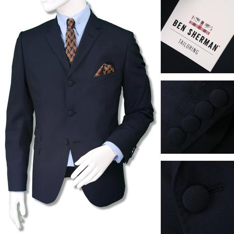 Ben Sherman Mens Plain 3 Button Slim Fit Suit Navy Thumbnail 1