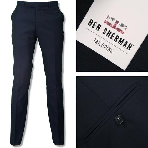 Ben Sherman Mens Plain 3 Button Slim Fit Suit Navy Thumbnail 2
