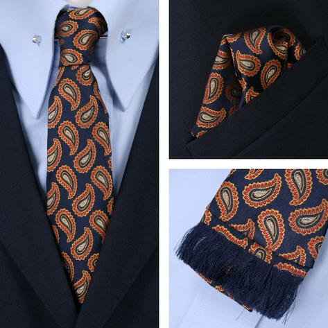 Knightsbridge Retro Square End Paisley Tie and Pocket Square Set Navy / Red Thumbnail 1