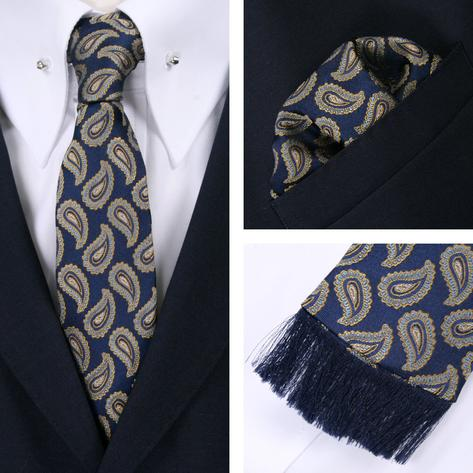 Knightsbridge Retro Square End Paisley Tie and Pocket Square Set Blue / Gold