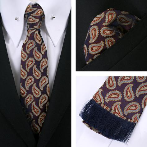Knightsbridge Retro Square End Paisley Tie and Pocket Square Set Wine / Purp