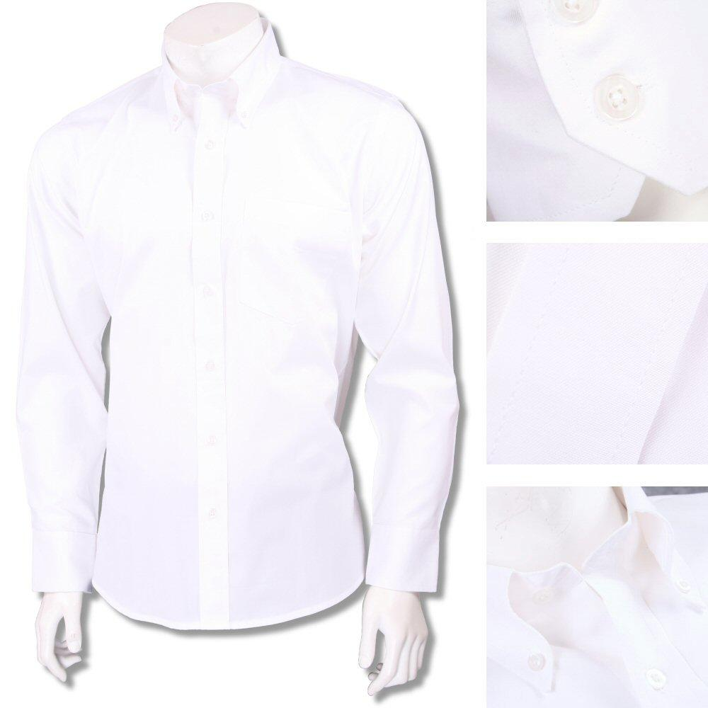 Relco Smart Mod Button Down L/S Cotton Oxford Shirt White