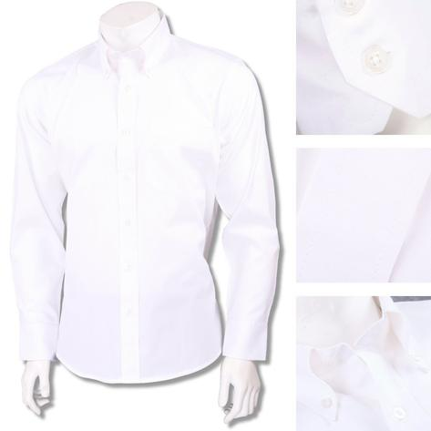 Relco Smart Mod Button Down L/S Cotton Oxford Shirt White Thumbnail 1