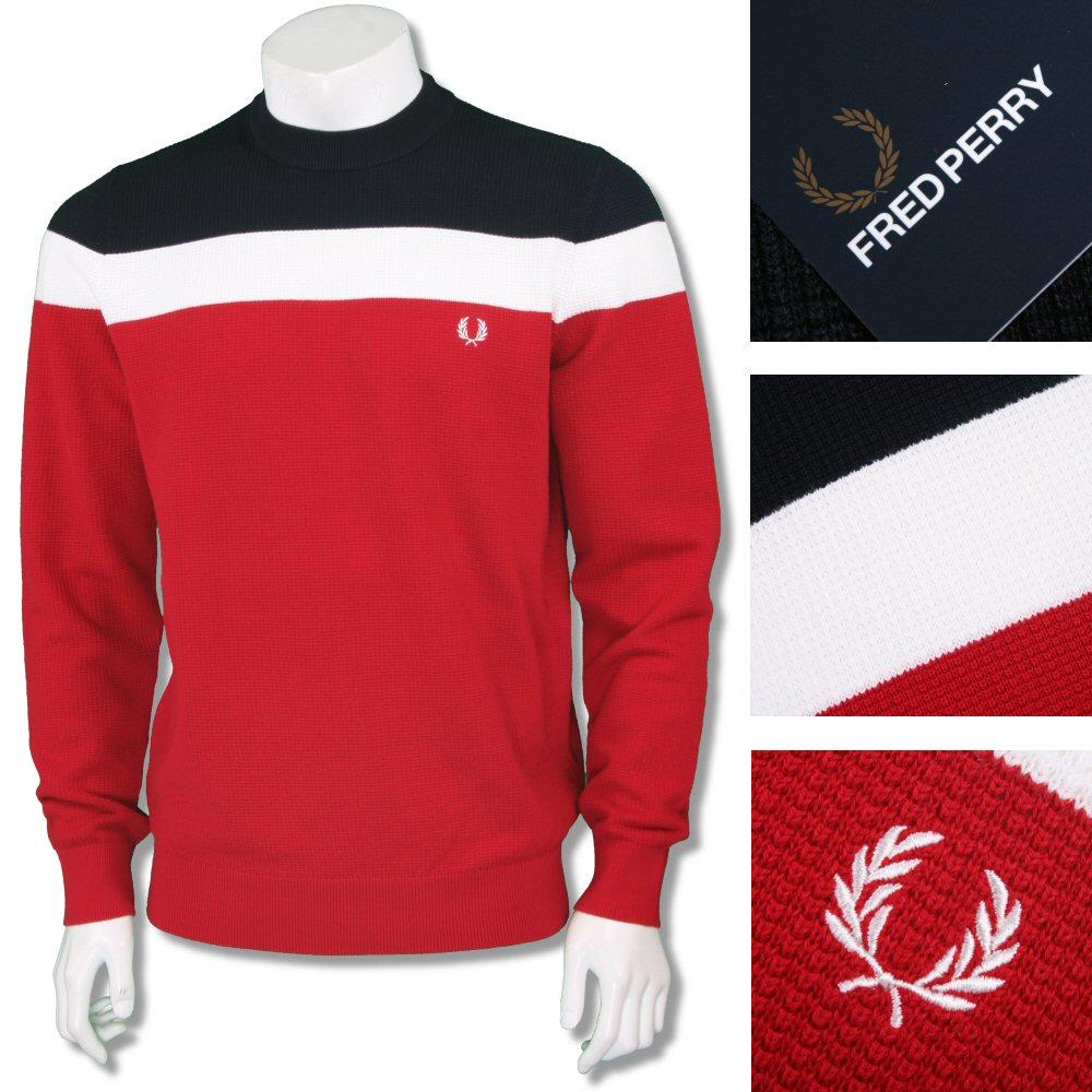 Fred Perry Cotton Mix Red White Blue Block Stripe Crew Neck