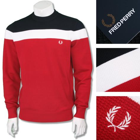Fred Perry Cotton Mix Red White Blue Block Stripe Crew Neck Thumbnail 1