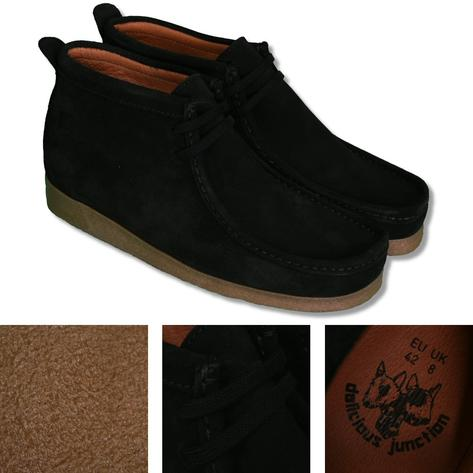 Delicious Junction 2 Hole Wallabee Style Suede Boot Black Thumbnail 1