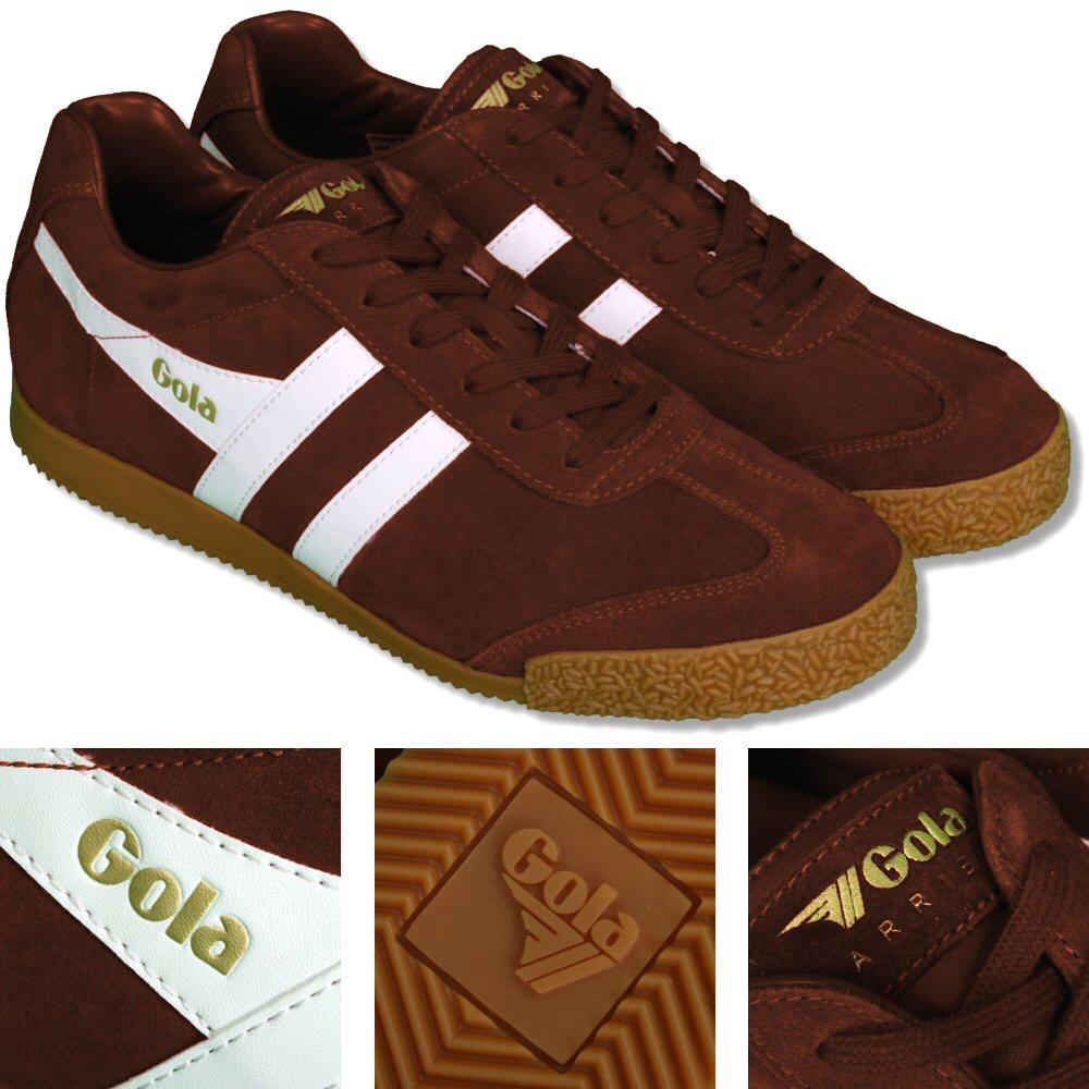 Gola Harrier Classic Twin Stripe Suede Mens Trainer Tobacco / White