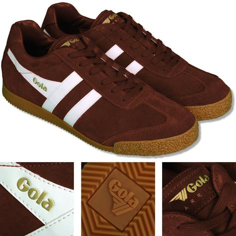 Gola Harrier Classic Twin Stripe Suede Mens Trainer Tobacco / White Thumbnail 1