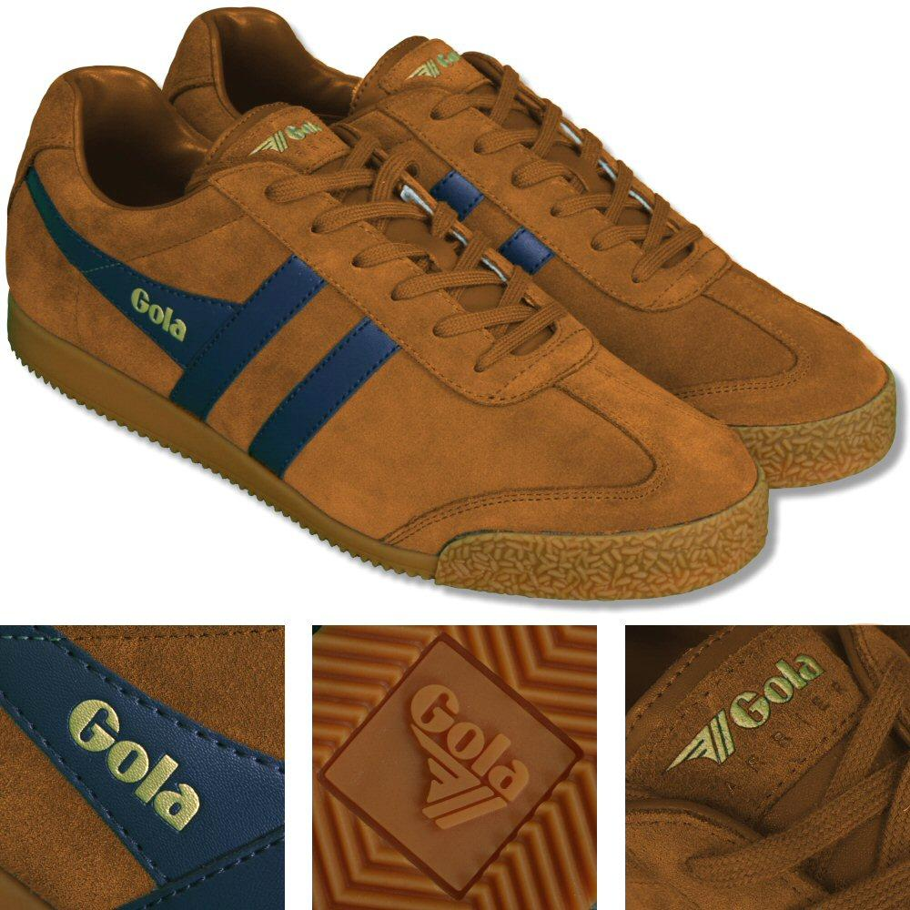 Gola Harrier Classic Twin Stripe Suede Mens Trainer Sand / Navy