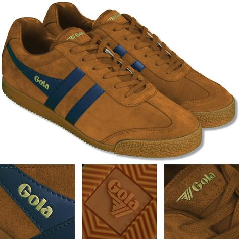 Gola Harrier Classic Twin Stripe Suede Mens Trainer Sand / Navy Thumbnail 1