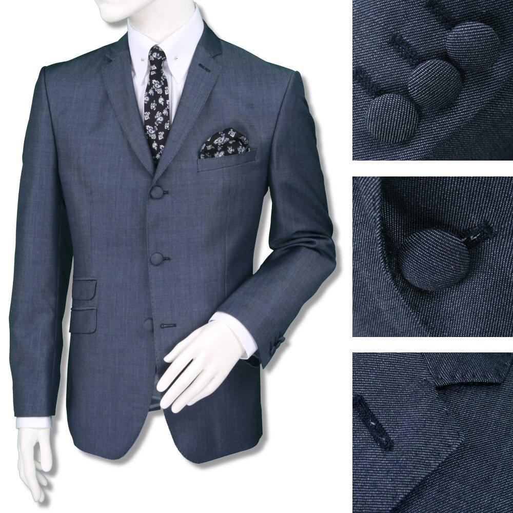 Adaptor Clothing Mod 3 Button Tonic Two Tone Mohair Jacket ONLY Airforce Blue