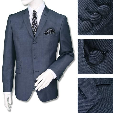 Adaptor Clothing Mod 3 Button Tonic Two Tone Mohair Jacket ONLY Airforce Blue Thumbnail 1