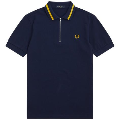 Fred Perry Laurel Wreath Zip Collar Tipped Polo Shirt Navy Thumbnail 1