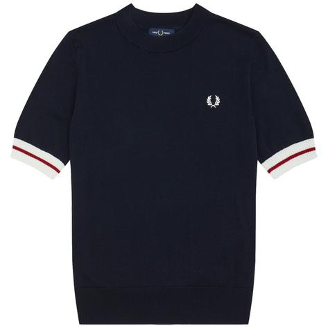 Fred Perry Laurel Wreath Crew Neck Tipped Knit Top Navy