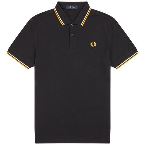 Fred Perry Laurel Wreath M3600 Polo Shirt Black / White / Yellow