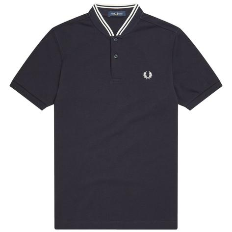 Fred Perry Laurel Wreath Pique Bomber Collar Polo Navy Thumbnail 1
