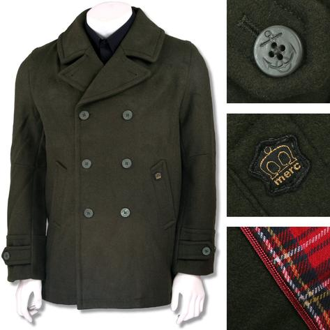 Merc London Mens Wool Pea Coat Dark Olive Thumbnail 1