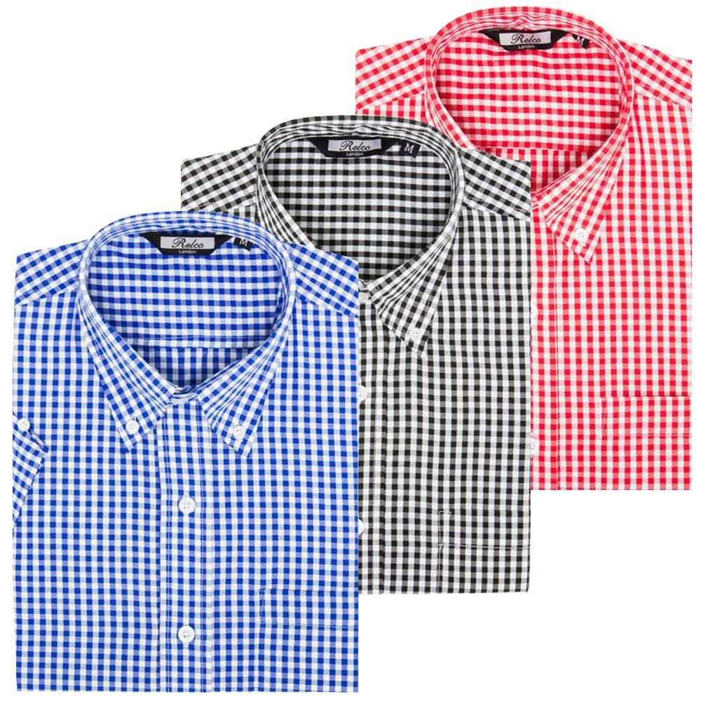 Relco Mens Gingham Check Short Sleeve Shirt