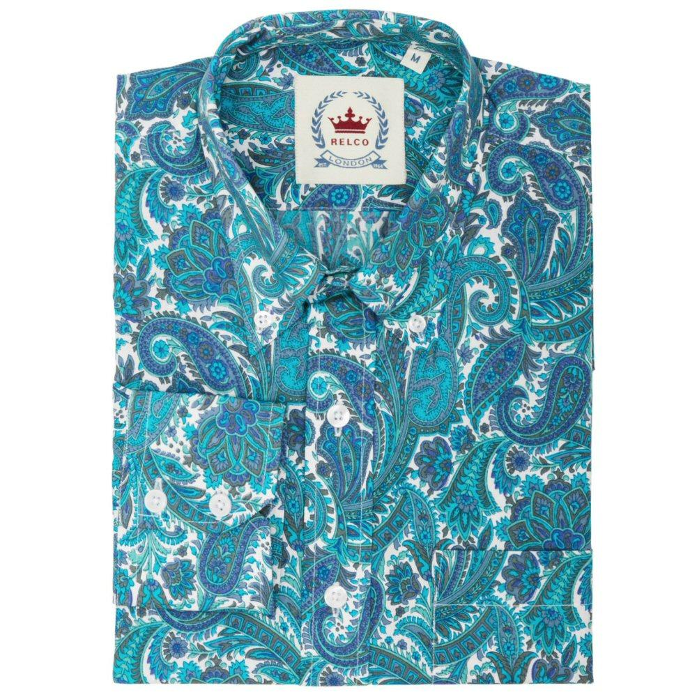 Relco Mens Retro Paisley Long Sleeve Shirt Turquoise