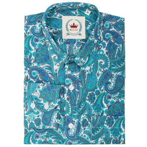 Relco Mens Retro Paisley Long Sleeve Shirt Turquoise Thumbnail 1