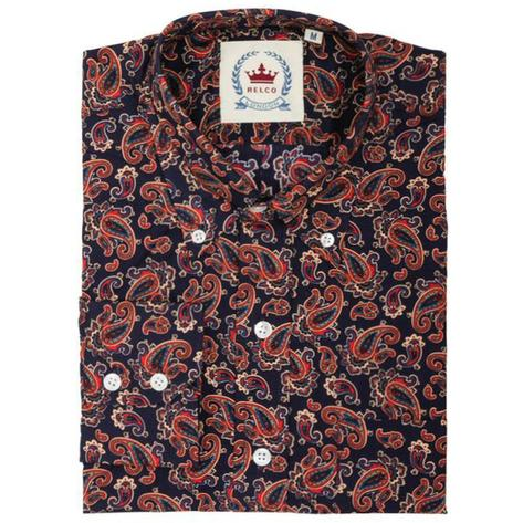 Relco Mens Mod Retro Paisley Long Sleeve Shirt Navy Thumbnail 1